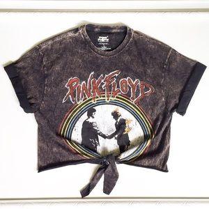 Tops - Pink Floyd Bleached Tie Front Crop Top   Sz. Med